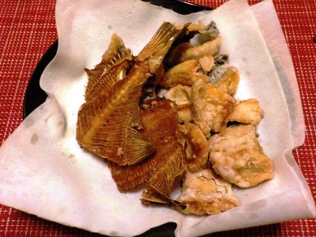 新居海釣公園で釣れたカレイの『竜田揚げ』と『骨せんべい』